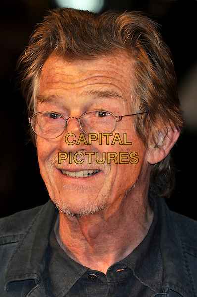 "JOHN HURT.2009 London Film Festival - Times Gala & the UK Premiere of ""The Men Who Stare At Goats"" at the Odeon, Leicester Square, London, England..October 15th 2009 .headshot portrait glasses stubble facial hair .CAP/PL.©Phil Loftus/Capital Pictures."