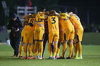 Newport players huddle during Maldon & Tiptree vs Newport County, Emirates FA Cup Football at the Wallace Binder Ground on 29th November 2019