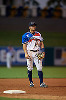Lakeland Flying Tigers third baseman John Valente (15) during a Florida State League game against the Fort Myers Miracle on August 3, 2019 at Publix Field at Joker Marchant Stadium in Lakeland, Florida.  Lakeland defeated Fort Myers 4-3.  (Mike Janes/Four Seam Images)