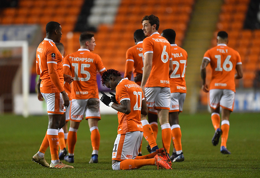 Blackpool's Armand Gnanduillet celebrates scoring his team's opening goal<br /> <br /> Photographer Dave Howarth/CameraSport<br /> <br /> The Emirates FA Cup Second Round Replay - Blackpool v Solihull Moors - Tuesday 18th December 2018 - Bloomfield Road - Blackpool<br />  <br /> World Copyright © 2018 CameraSport. All rights reserved. 43 Linden Ave. Countesthorpe. Leicester. England. LE8 5PG - Tel: +44 (0) 116 277 4147 - admin@camerasport.com - www.camerasport.com