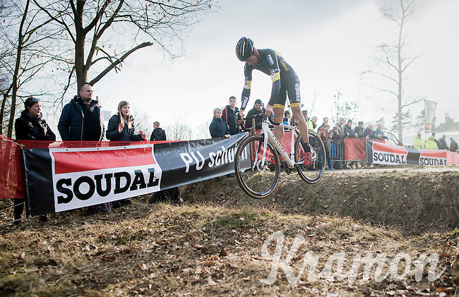 Tom Meeusen (BEL/Telenet-Fidea) jumping the ditch<br /> <br /> Men's Race<br /> CX Soudal Classics Leuven/Belgium 2017