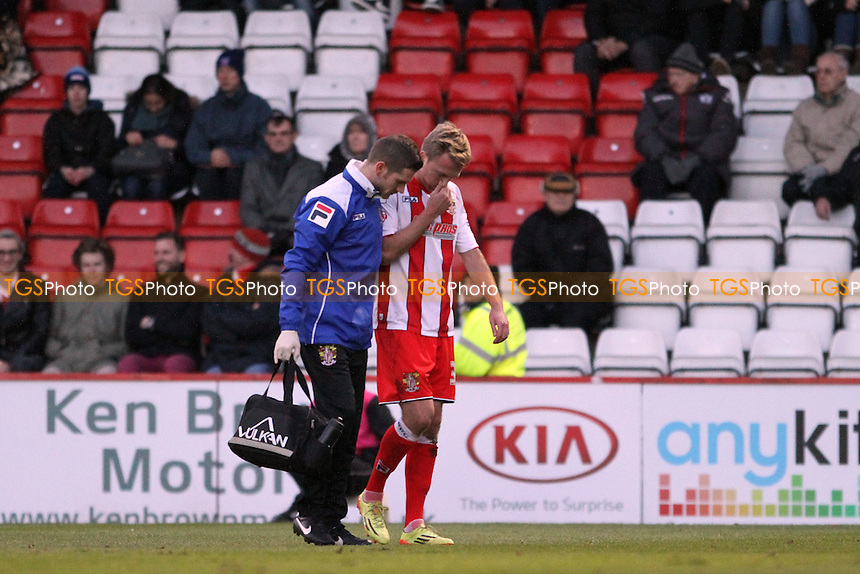 Lee Barnard of Stevenage plays no more part in the match - Stevenage vs Exeter City - Sky Bet League Two Football at the Lamex Stadium, Broadhall Way, Stevenage, Hertfordshire - 20/12/14 - MANDATORY CREDIT: Mick Kearns/TGSPHOTO - Self billing applies where appropriate - contact@tgsphoto.co.uk - NO UNPAID USE