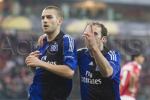 08/04/2010 Europa League Standard Liege v  Hamburg. Scorer Mladen Petric HSV and Joris Mathijsen after making the score 0-1.