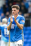 St Johnstone v Aberdeen&hellip;15.09.18&hellip;   McDiarmid Park     SPFL<br />Ross Callachan who made his saints debut aplauds the fans at full time<br />Picture by Graeme Hart. <br />Copyright Perthshire Picture Agency<br />Tel: 01738 623350  Mobile: 07990 594431
