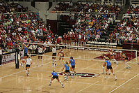 24 September 2005: Action during Stanford's 3-0 win over UCLA at Maples Pavilion in Stanford, CA.