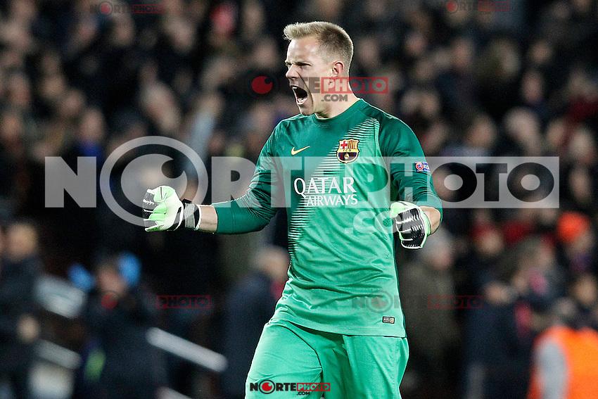 FC Barcelona's Marc-Andre Ter Stegen celebrates goal during Champions League 2014/2015 match.December 10,2014. (ALTERPHOTOS/Acero) /NortePhoto