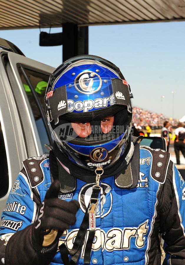 Sept. 25, 2011; Ennis, TX, USA: NHRA top fuel dragster driver Brandon Bernstein during the Fall Nationals at the Texas Motorplex. Mandatory Credit: Mark J. Rebilas-