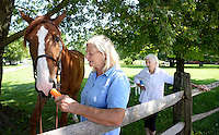 "Patricia ""Penny"" Silcox speaks about her legal battle with her business partners as she feeds Velin Du Housesil a carrot and her mother Dolores Silcox (right) looks on at Blue Jacket Farm Saturday August 13, 2016 in New Hope, Pennsylvania. Her business partners, Michael and Michelle Gara, allege she reneged on a verbal deal to give them control of Hickory Run Farms after they invested more than $1 million in the operations. (Photo by William Thomas Cain)"