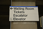 Sign for Waiting Room, Tickets, Escalator, and Elevator of Merrick train station of Babylon branch, after MTA Metropolitan Transit Authority and Long Island Rail Road union talks deadlock, with potential LIRR strike looming just days ahead.