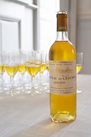 Aperitif served in the entrance hall, a glass golden yellow of Chateau de Cerons  Chateau de Cerons (Cérons) Sauternes Gironde Aquitaine France