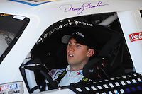 Apr 17, 2009; Avondale, AZ, USA; NASCAR Sprint Cup Series driver Denny Hamlin during practice for the Subway Fresh Fit 500 at Phoenix International Raceway. Mandatory Credit: Mark J. Rebilas-