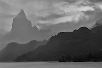 Cruising into Mo'orea the rain was diminishing and fog was lifting, revealing a very jagged volcanic island. The black and white versions here are not much different from the color images.