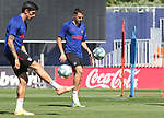 Atletico de Madrid's Stefan Savic (l) and Santiago Arias during training session. June 22,2020.(ALTERPHOTOS/Atletico de Madrid/Pool)