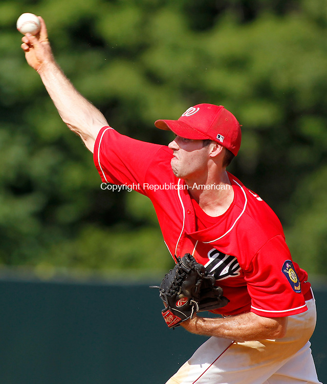 Waterbury, CT- 20, July 2010-072010CM01  Waterbury Post 1 pitcher, Kody Kerski delivers a pitch Tuesday afternoon at Municipal Stadium.  Kerski helped lead his team to a 13-3 victory over Madison.  --Christopher Massa Republican-American
