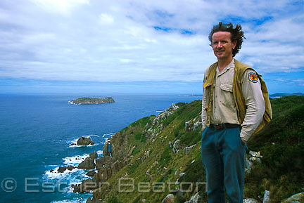 Nicholas Carlisle of NPWS on eastern face of Cabbage Tree Island (John Gould Nature Reserve) near Port Stephens, NSW.