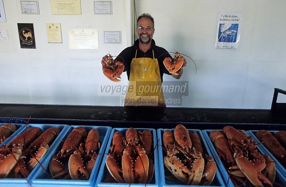 Europe/France/Bretagne/56/Morbihan/Plouharnel: Didier Moliton ostréïculteur au domaine de Kercroc a fait cuire des homards pour recevoir ses amis