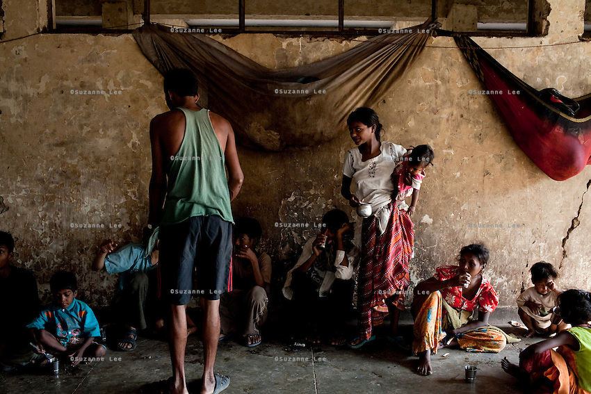 Almost 360 people live at the 3 story abandoned building that has been made into the Motiakhan Shelter for homeless people, in Paharganj on 5th October 2010, in Old Delhi, India. Picture: Suzanne Lee for The Australian. They had previously lived under plastic sheets on a roundabout nearby.
