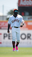 San Jose Giants outfielder Jacob Heyward (33) warms up before a California League game against the Lancaster JetHawks at San Jose Municipal Stadium on May 13, 2018 in San Jose, California. San Jose defeated Lancaster 3-0. (Zachary Lucy/Four Seam Images)