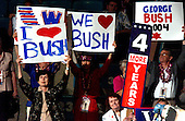 """New York, NY - September 1, 2004 -- Signs in the crowd after George W. Bush was """"officially"""" nominated as President of the United States at the 2004 Republican Convention in Madison Square Garden in New York on September 1, 2004..Credit: Ron Sachs / CNP.(RESTRICTION: No New York Metro or other Newspapers within a 75 mile radius of New York City)"""