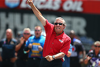 Jun 21, 2015; Bristol, TN, USA; NHRA team owner Don Schumacher celebrates a round win during the Thunder Valley Nationals at Bristol Dragway. Mandatory Credit: Mark J. Rebilas-USA TODAY Sports
