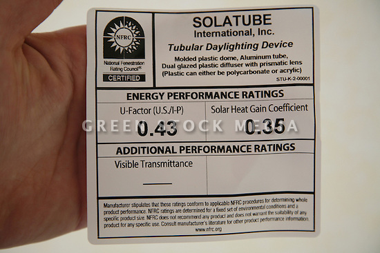 Close-up of the NFRC (National Fenestration Rating Council) Certified energy performance ratings label for a Solatube International, Inc. Tubular Daylighting Device. Lists U-Factor 0.43 and Solar Heat Gain Coefficient 0.35.