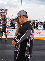 Sep 25, 2016; Madison, IL, USA; NHRA pro stock driver Greg Anderson reacts during the Midwest Nationals at Gateway Motorsports Park. Mandatory Credit: Mark J. Rebilas-USA TODAY Sports