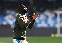 9th February 2020; Stadio San Paolo, Naples, Campania, Italy; Serie A Football, Napoli versus Lecce; Kalidou Koulibaly of Napoli thanks the fans during pre-game warm up