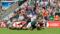 Twickenham, United Kingdom. 3rd June 2018, HSBC London Sevens Series. Game 45. Cup Final.  Fiji vs South Africa. <br /> <br /> RFA's Zain GANS, touches down, during the Rugby 7's, match played at the  RFU Stadium, Twickenham, England, <br /> <br /> <br /> <br /> &copy; Peter SPURRIER/Alamy Live News