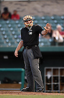 Umpire Kirk Struble during a game between the Dayton Dragons and South Bend Silver Hawks on August 20, 2014 at Four Winds Field in South Bend, Indiana.  Dayton defeated South Bend 5-3.  (Mike Janes/Four Seam Images)