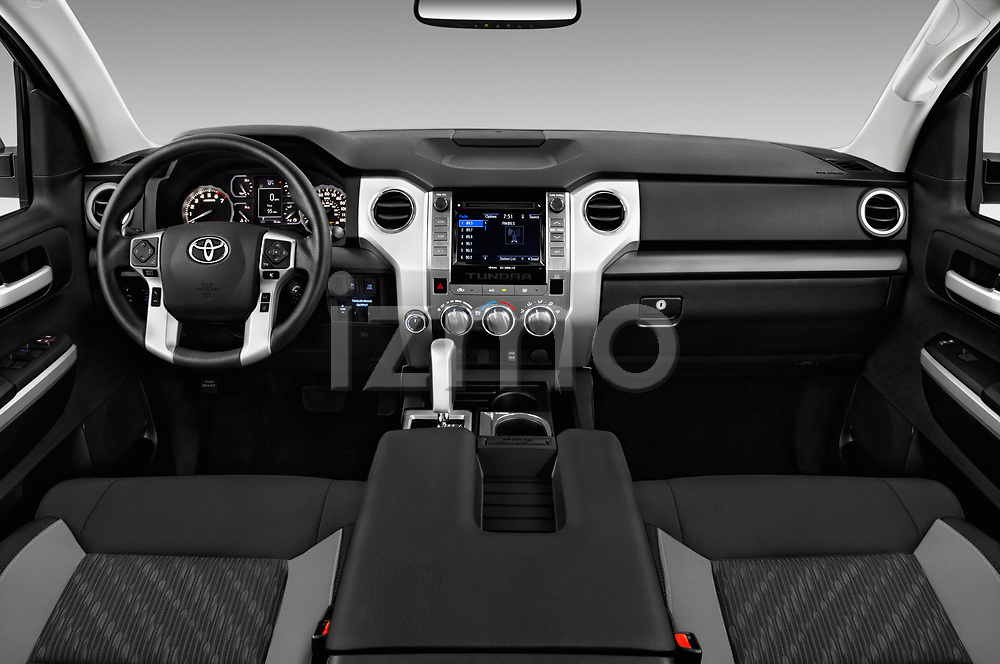 Stock photo of straight dashboard view of a 2018 Toyota Tundra SR5 5.7L Crew Max 4WD Short Bed 4 Door Pick Up