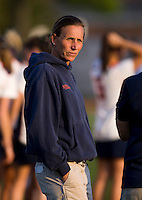 Virginia head coach Julie Myers watches her team during the first round of the ACC Women's Lacrosse Championship in College Park, MD.  Virginia defeated Virginia Tech, 18-6.