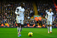 Sunday, 23 February 2014<br /> Pictured: Swansea City's Nathan Dyer<br /> Re: Barclay's Premier League, Liverpool FC v Swansea City FC v at Anfield Stadium, Liverpool Merseyside, UK.