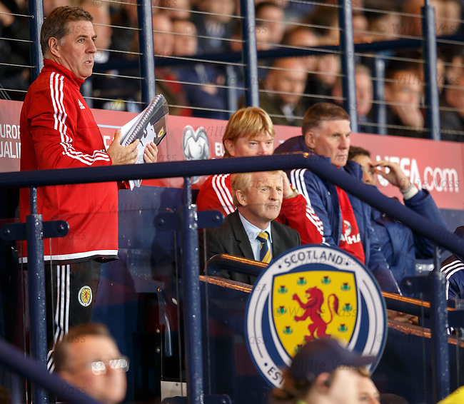 Gordon Strachan and his backroom team look on as Scotland blow it in the last minute of added on time