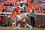Scotty Washington (7) of the Wake Forest Demon Deacons catches a touchdown pass during fourth quarter action against the Clemson Tigers at Memorial Stadium on October 7, 2017 in Clemson, South Carolina.  The Tigers defeated the Demon Deacons 28-14. (Brian Westerholt/Sports On Film)