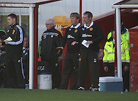 Motherwell management team Stuart McCall (left) and Kenny Black issue instructions in the Motherwell v St Johnstone Clydesdale Bank Scottish Premier League match played at Fir Park, Motherwell on 28.4.12.