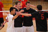 STANFORD, CA - January 2, 2018: Eric Beatty, Evan Enriques, Jacob Thoenen, JP Reilly at Burnham Pavilion. The Stanford Cardinal defeated the Calgary Dinos 3-1.
