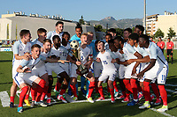 England celebrate winning the Trophy during England Under-18 vs Ivory Coast Under-20, Toulon Tournament Final Football at Stade de Lattre-de-Tassigny on 10th June 2017