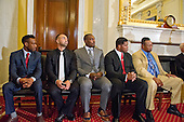 From left to right: American professional boxer and former WBA super welterweight champion Austin Trout; American professional boxer and commentator Paulie Malignaggi; Phil Davis, former All American Wrestler & Bellator MMA fighter; former NFL running back and and mixed martial artist Herschel Walker; and former World Heavyweight Champion Larry Holmes look on during formal remarks at a press conference to discuss the observational study on the brain health of active and retired professional fighters on Capitol Hill in Washington, DC on Tuesday, April 26, 2016.  The study, led by researchers from the Cleveland Clinic, is  designed to better identify, prevent and treat Chronic Traumatic Encephalopathy (CTE.)<br /> Credit: Ron Sachs / CNP