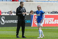 Bridgeview, IL - Saturday April 22, 2017: Vlatko Andonovski, Becky Sauerbrunn during a regular season National Women's Soccer League (NWSL) match between the Chicago Red Stars and FC Kansas City at Toyota Park.