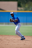 Toronto Blue Jays shortstop Luis De Los Santos (1) throws to first base during an Instructional League game against the Philadelphia Phillies on September 27, 2019 at Englebert Complex in Dunedin, Florida.  (Mike Janes/Four Seam Images)