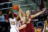 LOS ANGELES, CA - December 29, 2011:  Stanford's Taylor Greenfield and Joslyn Tinkle during play against the USC Trojans at the Galen Center.   Stanford defeated USC, 61 - 53.