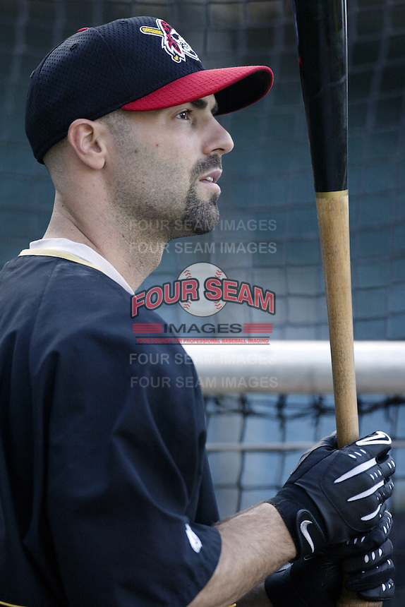 Chad Hermansen of the Pittsburgh Pirates before a 2002 MLB season game against the Los Angeles Angels at Angel Stadium, in Anaheim, California. (Larry Goren/Four Seam Images)