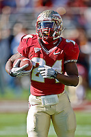 November 27, 2010:    Florida State Seminoles running back Lonnie Pryor (24) warms up prior to the start of the game between the ACC Conference Florida State Seminoles and the SEC Conference University of Florida Gators at Doak Campbell Stadium in Tallahassee, Florida.