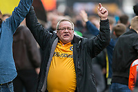 A Newport fan celebrates during a pitch invasion at full time of the Sky Bet League 2 match between Newport County and Notts County at Rodney Parade, Newport, Wales on 6 May 2017. Photo by Mark  Hawkins / PRiME Media Images.