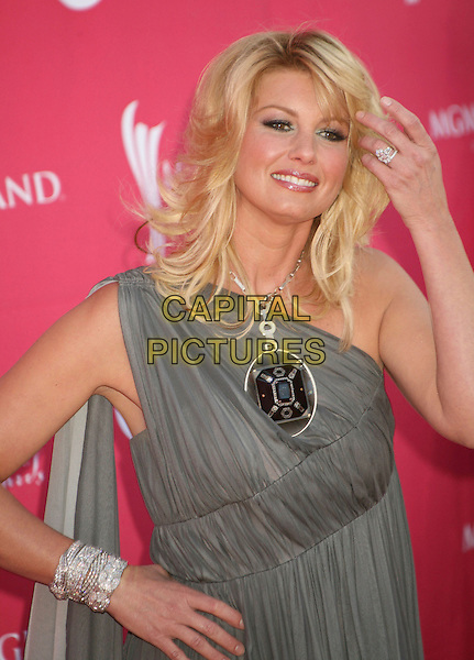 FAITH HILL.42nd Annual Academy Of Country Music Awards held at the MGM Grand Garden Arena, Las Vegas, Nevada, USA..May 15th, 2007.half length grey gray one shoulder dress pendant necklace ring bracelet .CAP/ADM/BP.©Byron Purvis/AdMedia/Capital Pictures