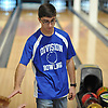 Joseph Migliorino of Levittown Division rolls a strike during a Nassau County boys bowling match against Bellmore-Merrick at Levittown Lanes on Thursday, Nov. 30, 2017. He bowled a 211 in his third game to help his team to an 8-3 win.