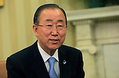United Nations Secretary-General Ban Ki-moon during a bilateral meeting with United States President Barack Obama (not pictured) in the Oval Office of the White House in Washington, DC on August 4, 2015.  <br /> Credit: Dennis Brack / Pool via CNP