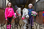 Wedding bells at the Tralee Equestrian Centre on Tuesday as Pongo and Perdy got married.<br /> L-r,   Sheola McElligott, Pongo and Perdy with Olivia Starrett.