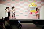 """(L to R) Australian model Miranda Kerr, Japanese mascot character Funassyi and the fashion model Anne Nakamura attend the Reebok Skyscape Fashion Show on April 15, 2015, Tokyo, Japan. Miranda Kerr, who is very popular in Japan, is the Reebok global ambassador for the new footwear line """"Skyscape"""". Models Anne Nakamura, Tina Tamashiro and Funassyi, mascot of Funabashi city in Chiba, also attended the event. (Photo by Rodrigo Reyes Marin/AFLO)"""