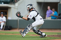 Winston-Salem Dash catcher Jeremy Dowdy (21) fields a throw in front of home plate during the game against the Salem Red Sox at BB&T Ballpark on June 18, 2015 in Winston-Salem, North Carolina.  The Red Sox defeated the Dash 8-2.  (Brian Westerholt/Four Seam Images)